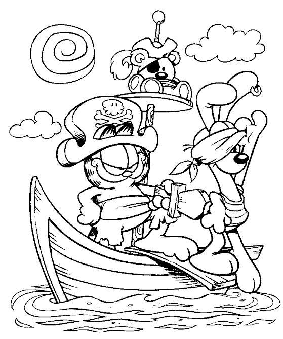 Раскраска Гарфилд пират. Скачать Гарфилд.  Распечатать Гарфилд