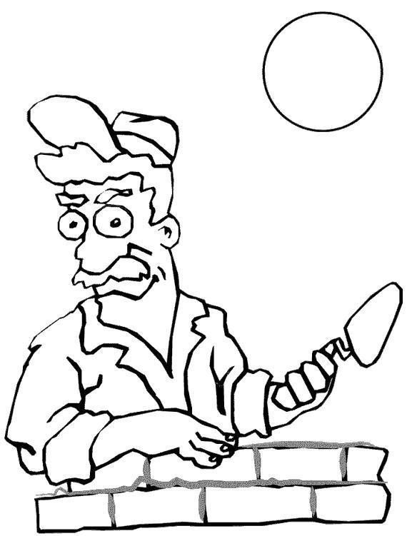 Раскраска строитель кладет кирпичи. Скачать Строитель.  Распечатать Строитель