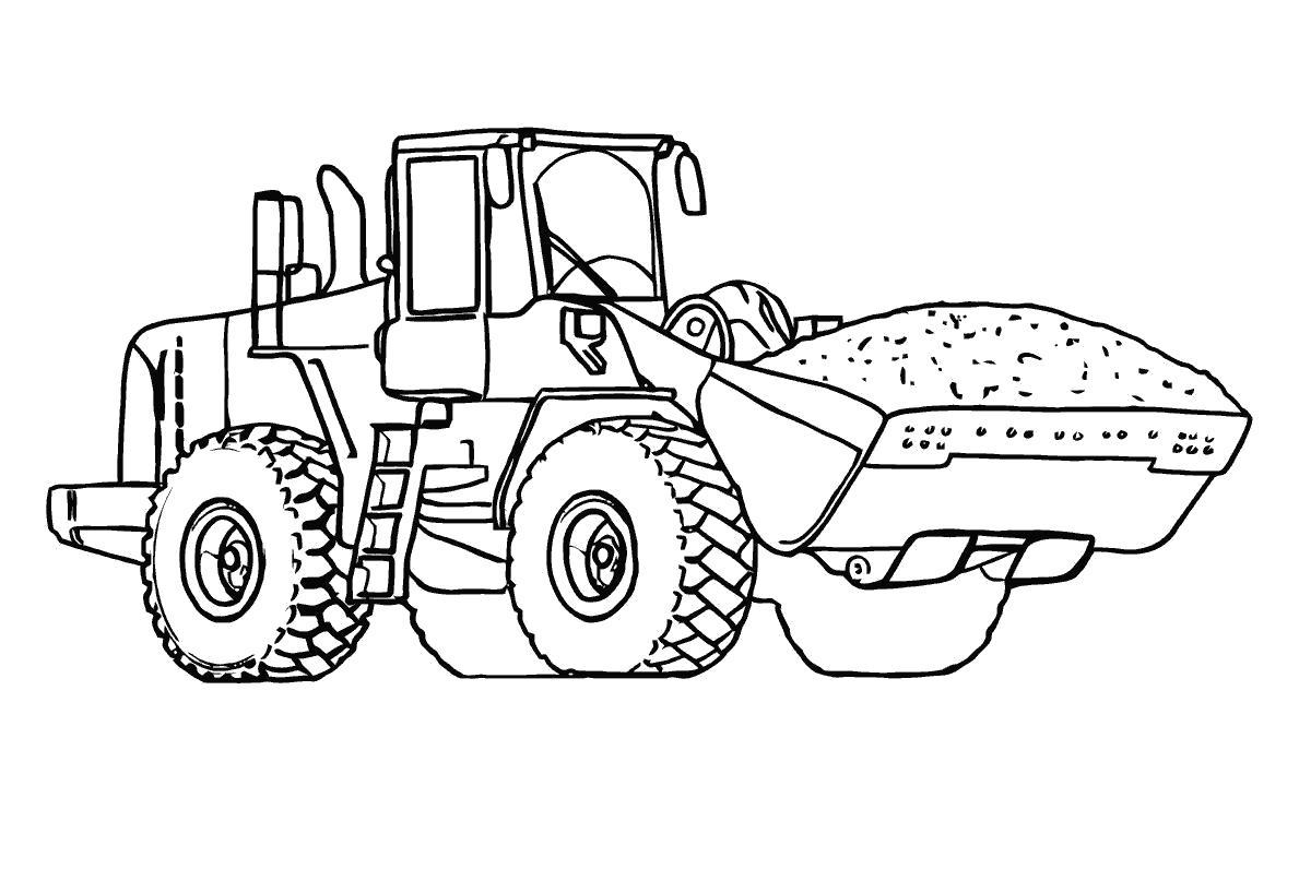 Раскраска Бульдозер с песком. Скачать строительная техника.  Распечатать для мальчиков