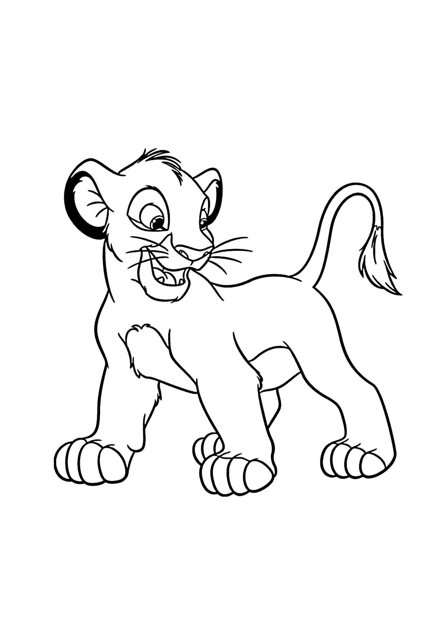 Раскраска львенок. Скачать Лев.  Распечатать Лев