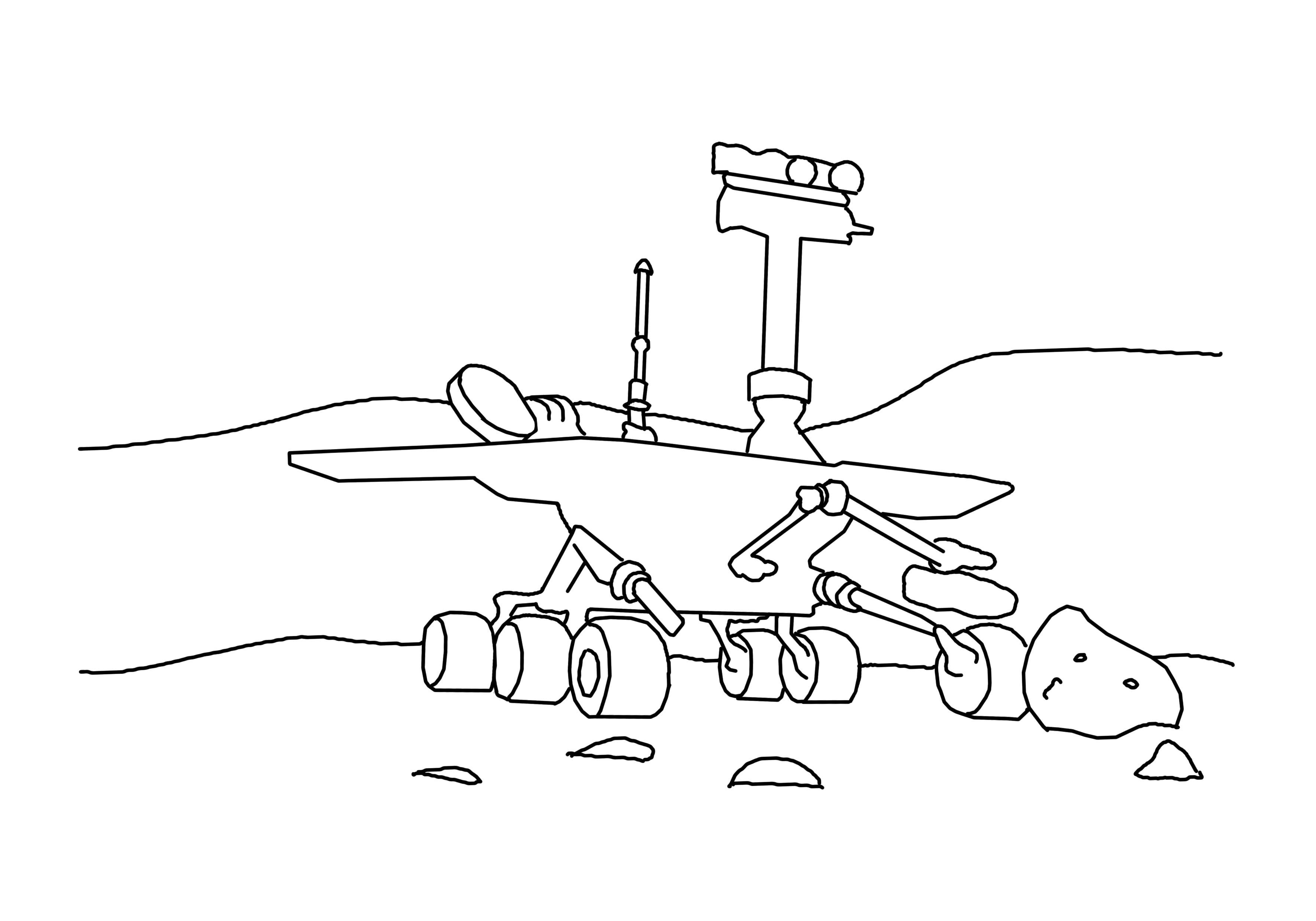 Раскраска Марсоход. Скачать день космонавтики.  Распечатать день космонавтики