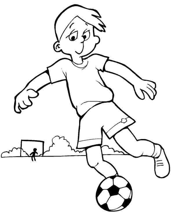 Раскраска мальчик бьет по мячу. Скачать Футбол.  Распечатать Футбол