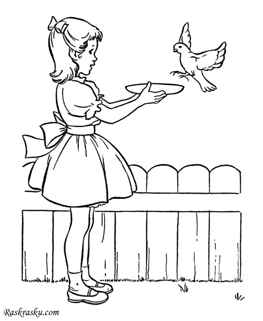 Раскраска Девочка кормит птичку. Скачать Девочка.  Распечатать Девочка