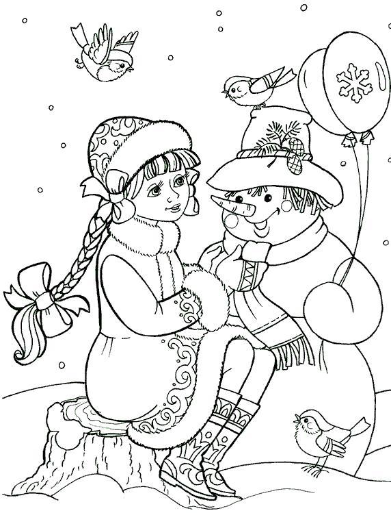 Раскраска Снегурочка сидит около снеговика.. Скачать Снегурочка.  Распечатать Новый год