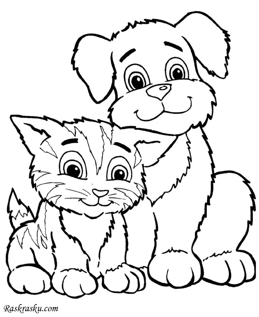 Раскраска Кошка и собака. Скачать кошка.  Распечатать кошка