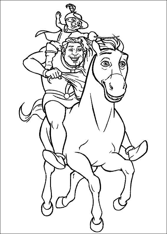 Раскраска Шрек и кот скачут на лошади спасать принцессу Фиону.  Лошадь, Шрек, Кот. Скачать шрек.  Распечатать шрек