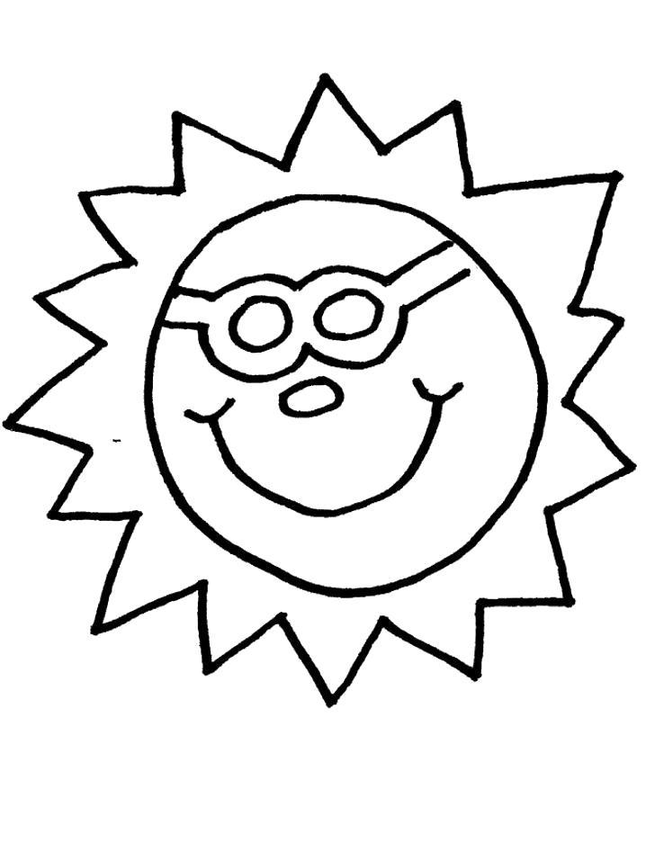 Раскраска  Солнышко в очках. Скачать Солнышко.  Распечатать Солнышко