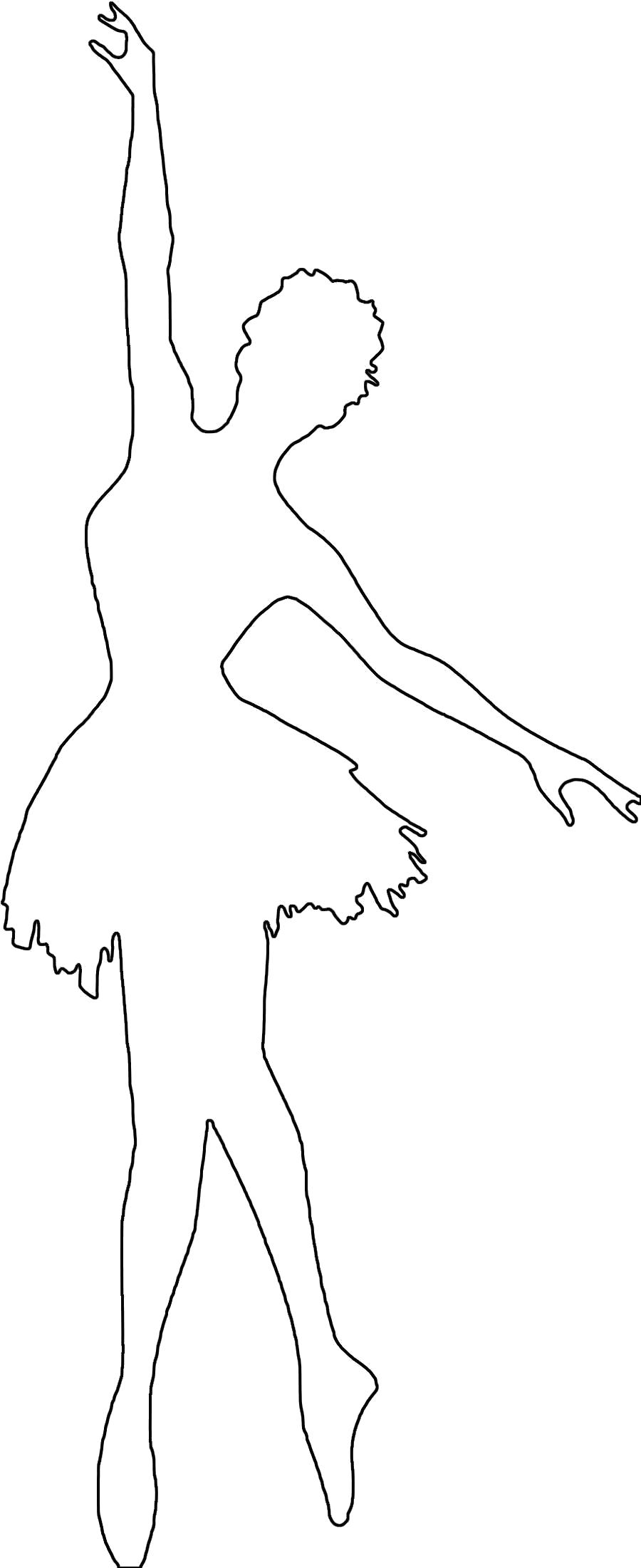 Раскраска  шаблоны балерин балерина контур для вырезки из бумаги, для детского творчества. Скачать Шаблон.  Распечатать Шаблон