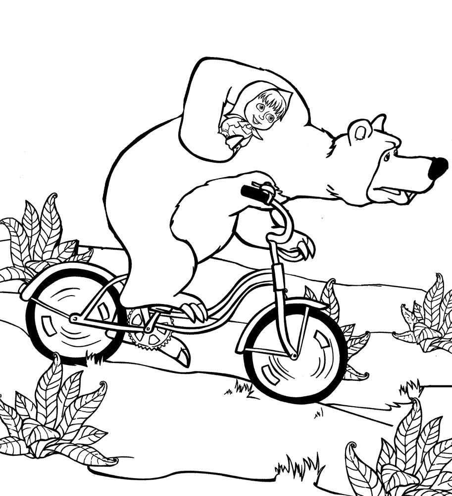 Раскраска Медведь увозит Машу. Скачать .  Распечатать