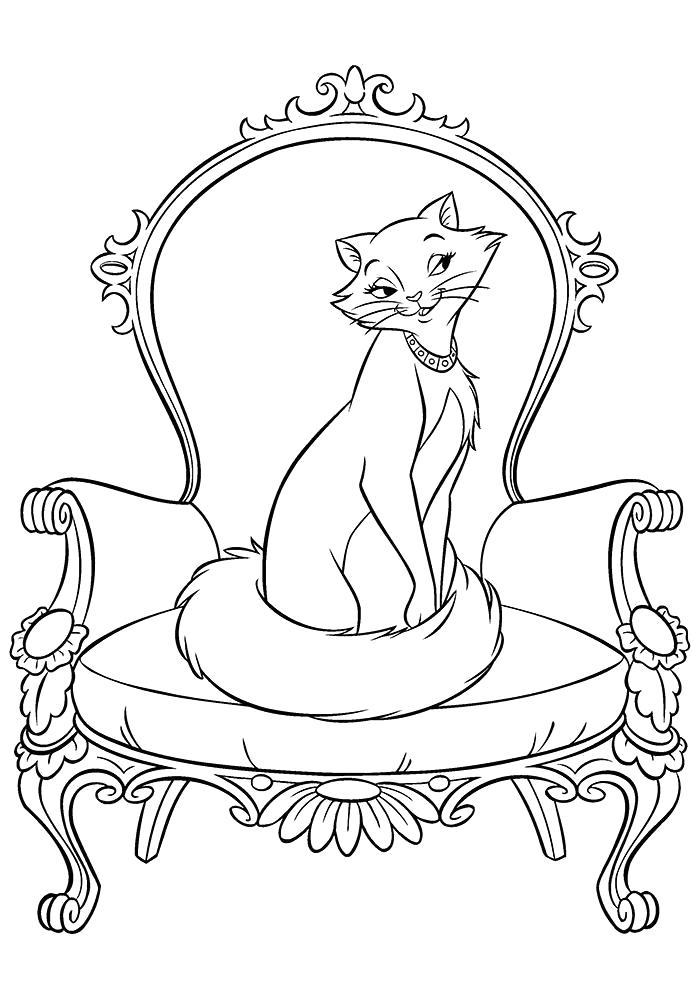 Раскраска Кошка мама. Скачать кошка.  Распечатать Домашние животные
