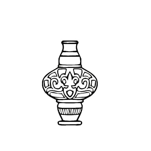 Раскраска декоративная ваза. Скачать Ваза.  Распечатать Ваза