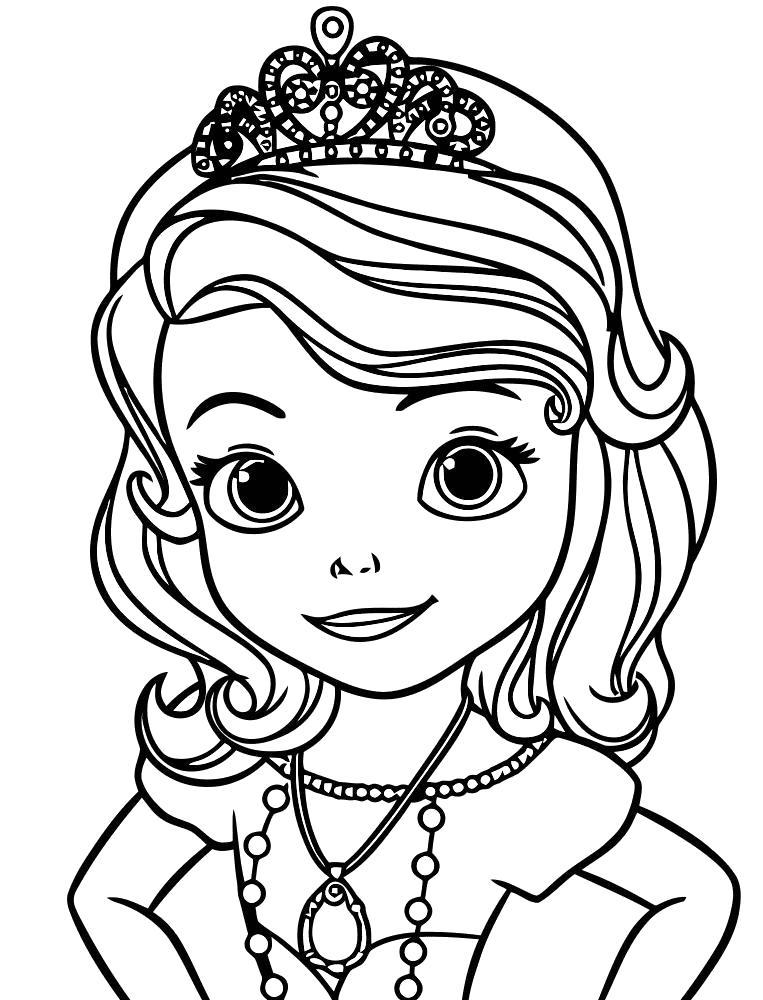 Раскраска лицо принцессы. Скачать принцесса.  Распечатать принцесса