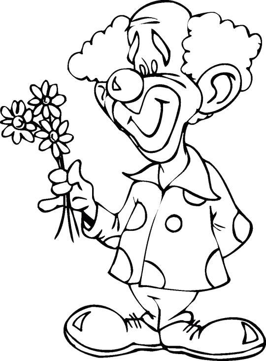 Раскраска Клоун с цветочками. Скачать цирк.  Распечатать цирк