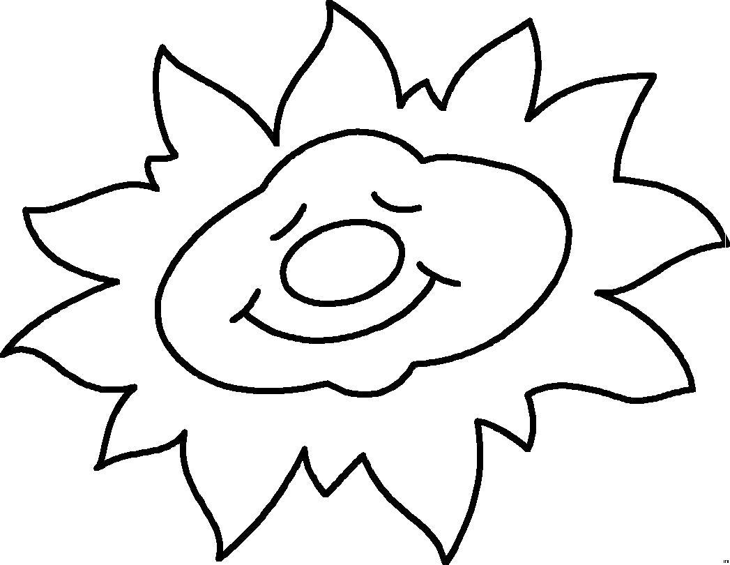 Раскраска Спящее солнце. Скачать Солнышко.  Распечатать Солнышко