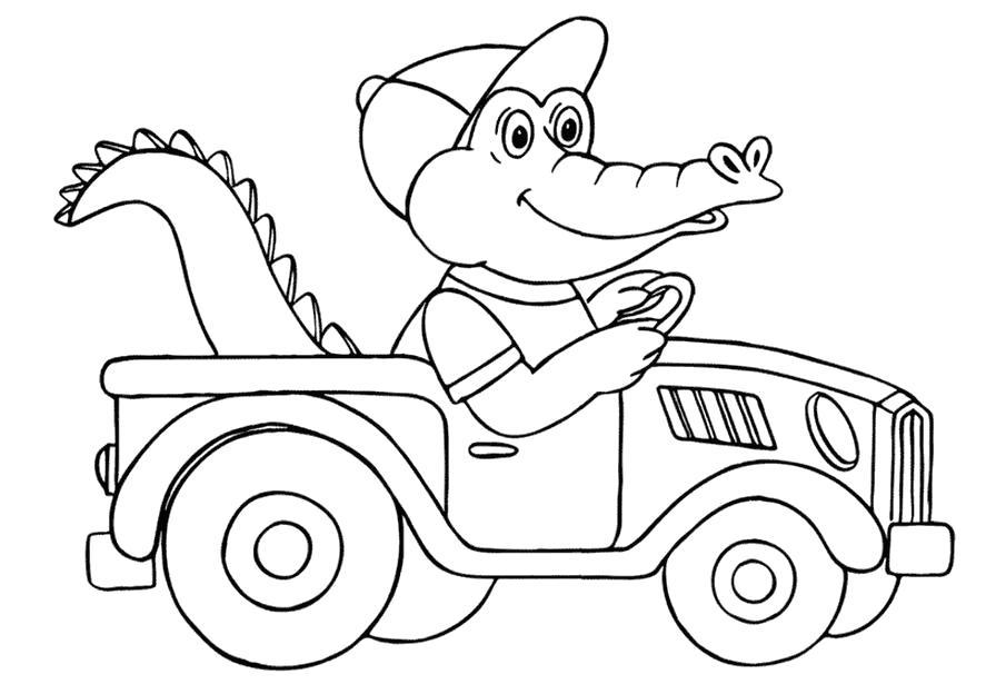 Раскраска детские  автомобили, крокодил едет на машине. Скачать Автомобиль.  Распечатать Автомобиль