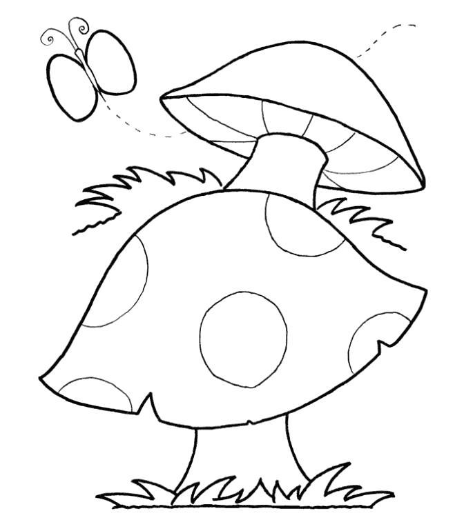 Раскраска мухомор. Скачать гриб.  Распечатать гриб