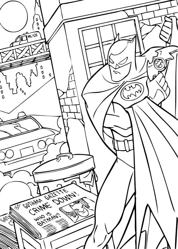 Раскраска  Бэтмен в городе. Скачать Бэтмен.  Распечатать Комиксы и супергерои