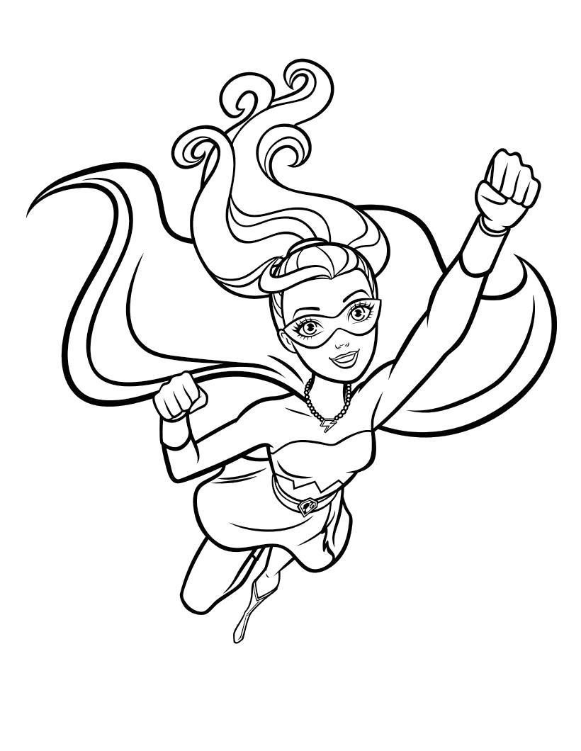 Раскраска  Барби Супер Принцесса, Барби спасает город. Скачать барби.  Распечатать барби