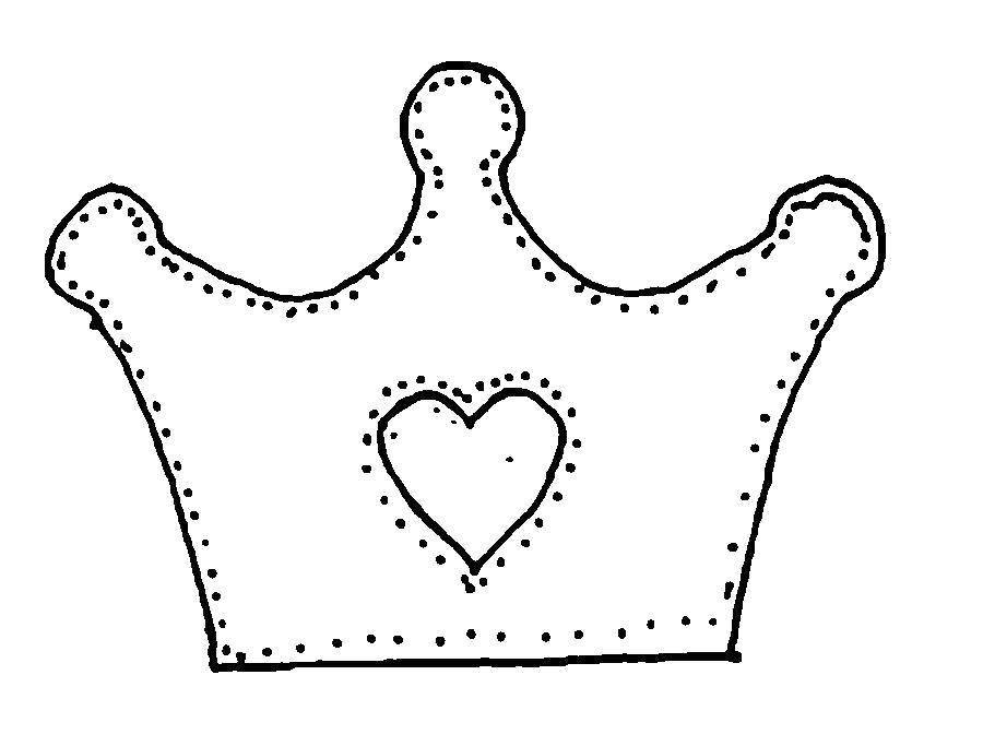 Раскраска  Корона  корона с сердечком шаблон, карона шаблон из бумаги. Скачать сердечко.  Распечатать сердечко