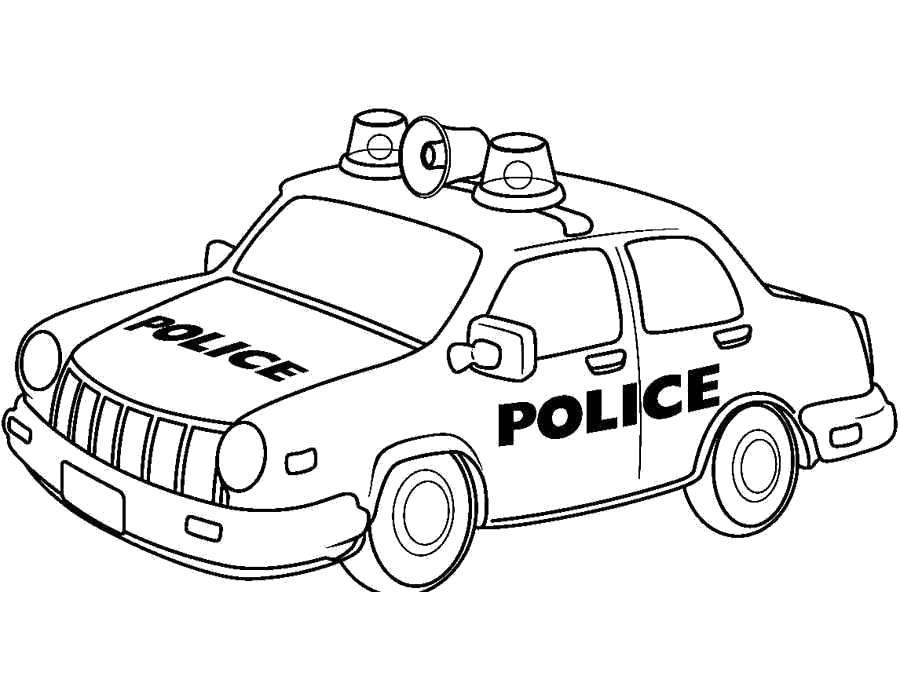 Раскраска - полицейские машины. Скачать .  Распечатать
