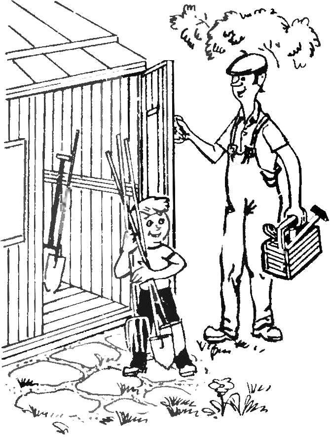 Раскраска Отец и сын на стройке. Скачать .  Распечатать