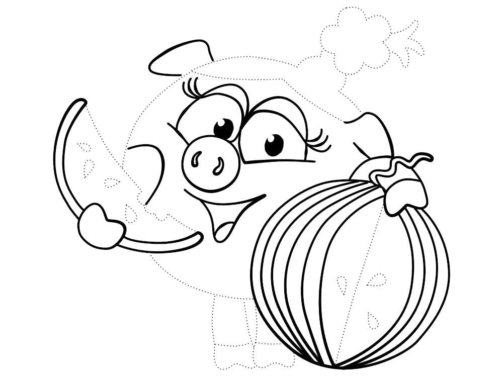 Раскраска Обвести по точкам рисунки с Нюшей из Смешариков и раскрасить их. Скачать по точкам.  Распечатать по точкам