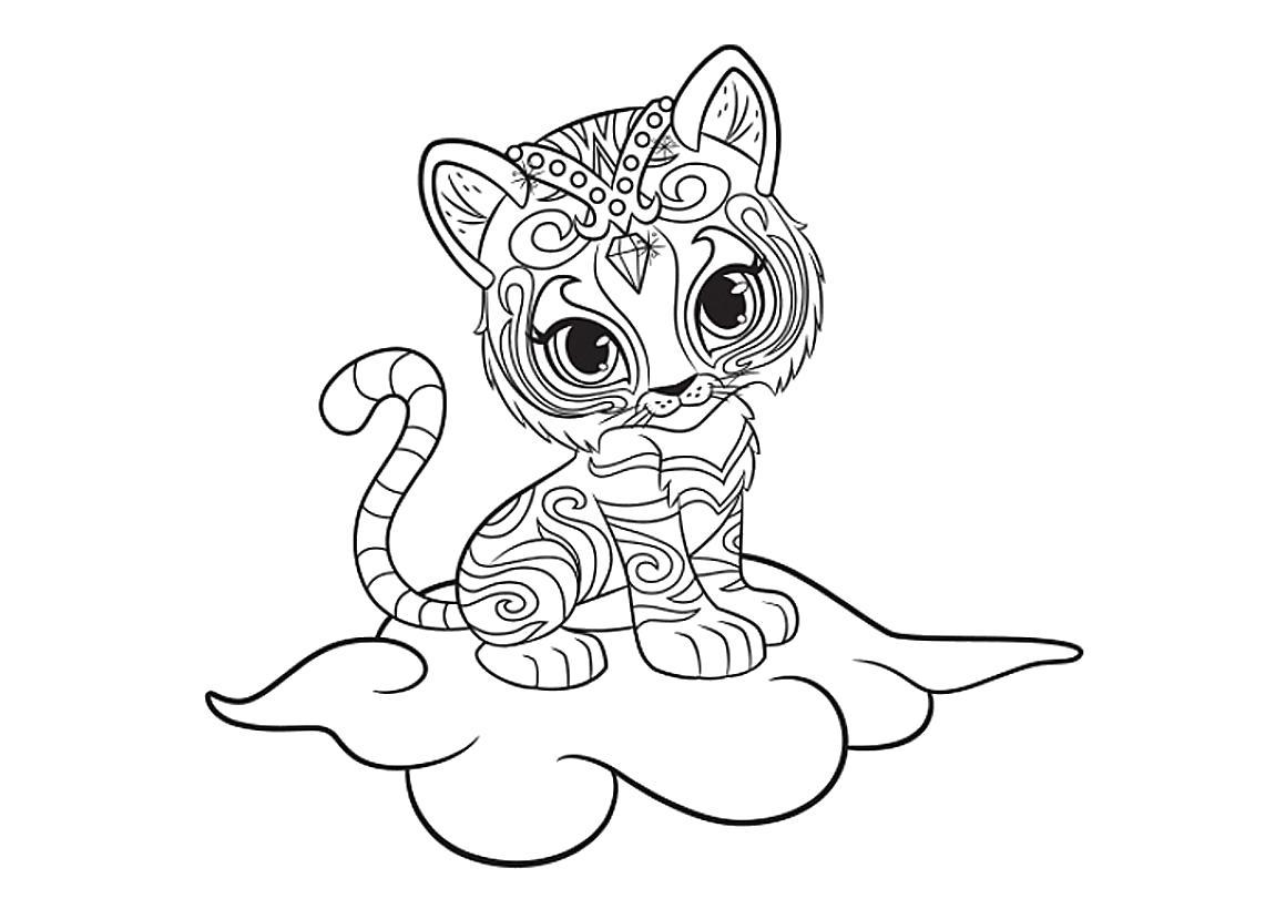 Раскраска Тигренок Нала. Скачать Тигр.  Распечатать Дикие животные