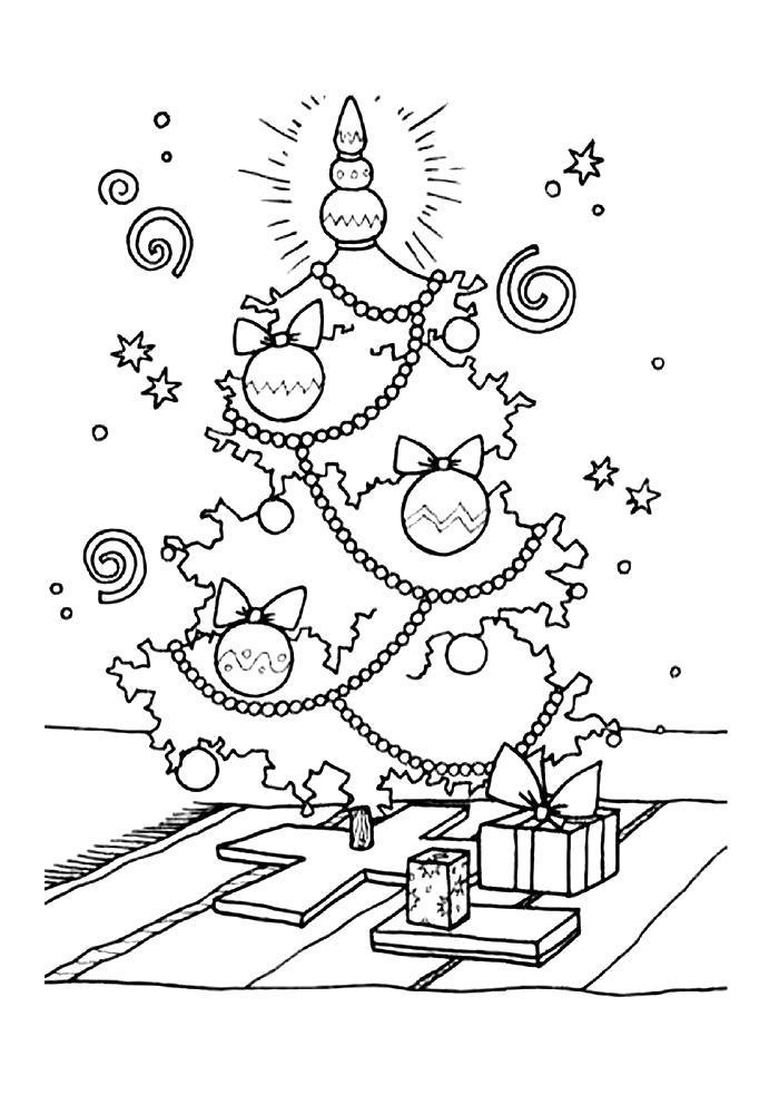 Раскраска Новогодняя ёлка. Скачать .  Распечатать
