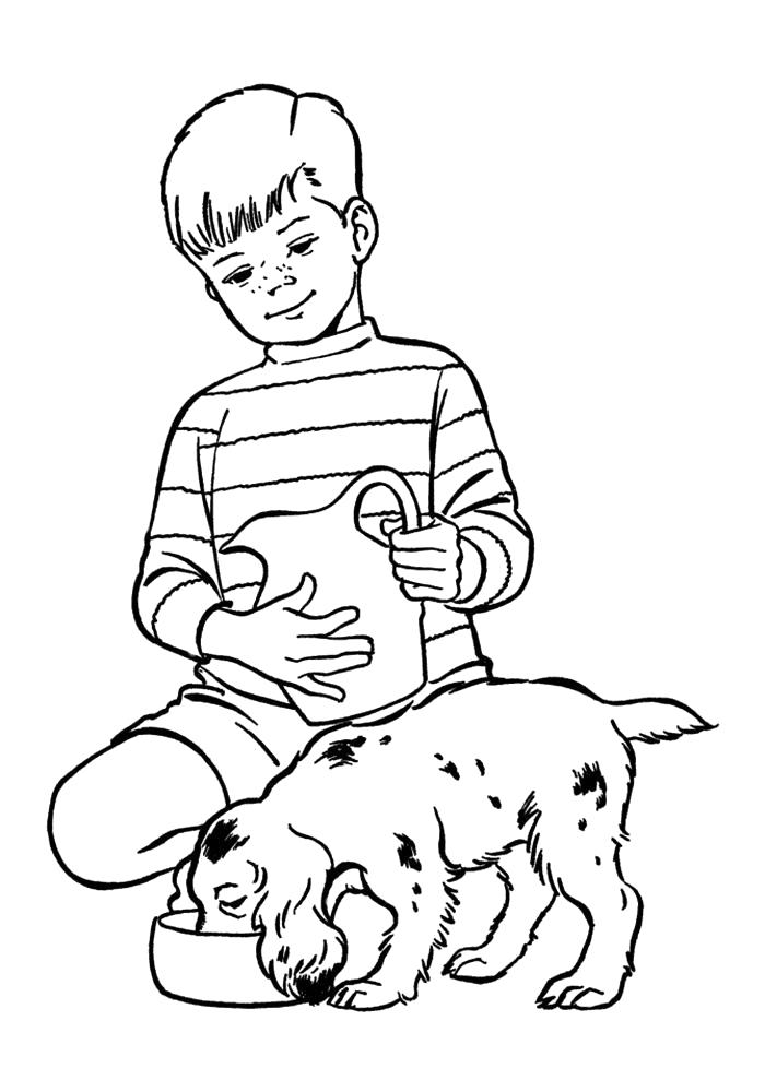 Раскраска  мальчик с собакой. Скачать Собаки.  Распечатать Собаки