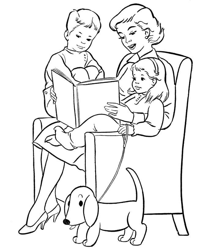Раскраска мама читает детям. Скачать День Матери.  Распечатать День Матери