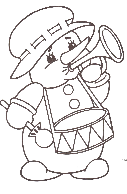 Раскраска снеговик, музыкальный снеговик, барабан, музыкальная труба, снеговик в шляпе. Скачать новогодние.  Распечатать новогодние