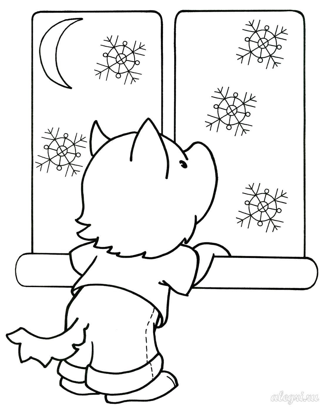Раскраска собачка смотрит в окно, в окне снег, снежинки, луна. Скачать Зимние.  Распечатать Зимние