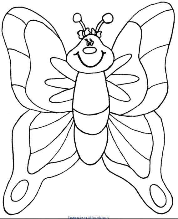 Раскраска радостная бабочка. Скачать Бабочки.  Распечатать Бабочки