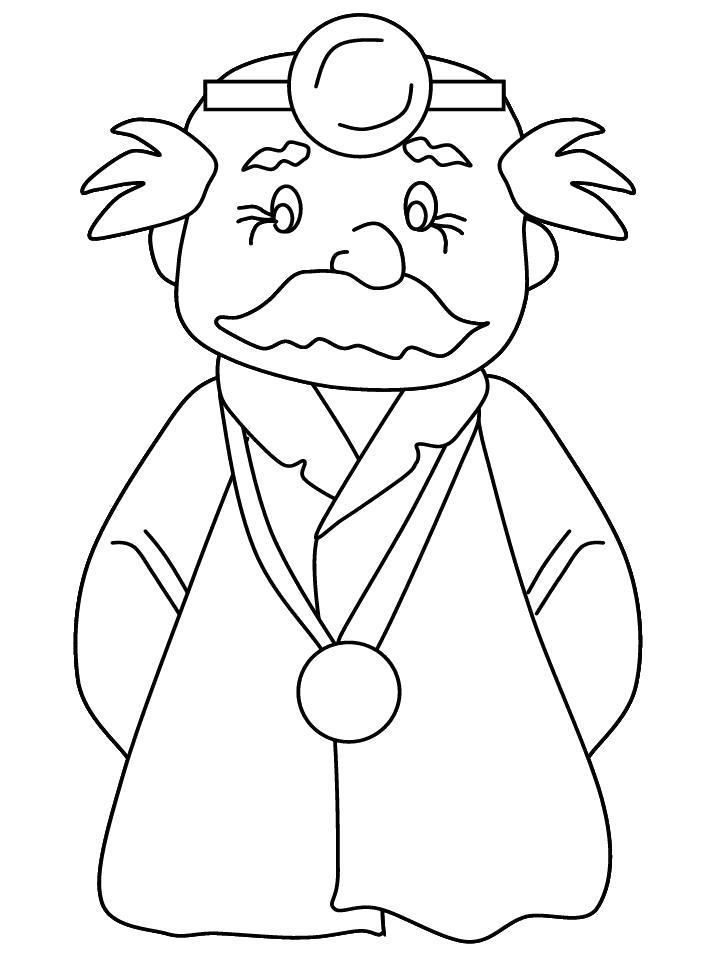 Раскраска доктор, профессия, специальность врач, лечить, . Скачать Доктор.  Распечатать Доктор