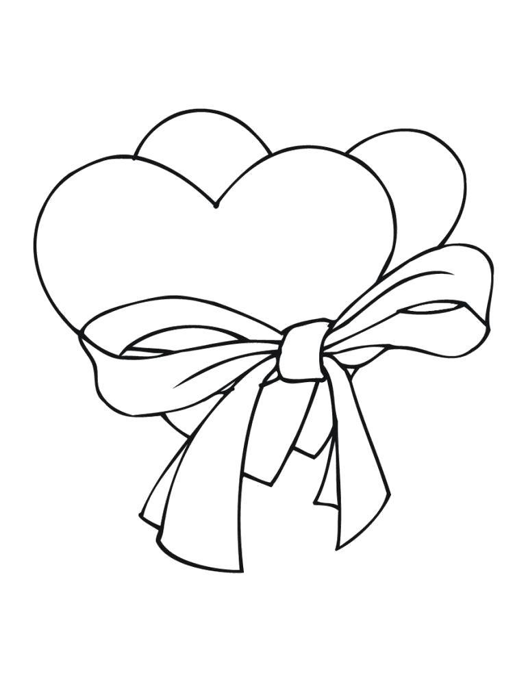 Раскраска  шаблоны сердечек для вырезания  сердца с ленточкой для вырезания из бумаги. Скачать Шаблон.  Распечатать Шаблон