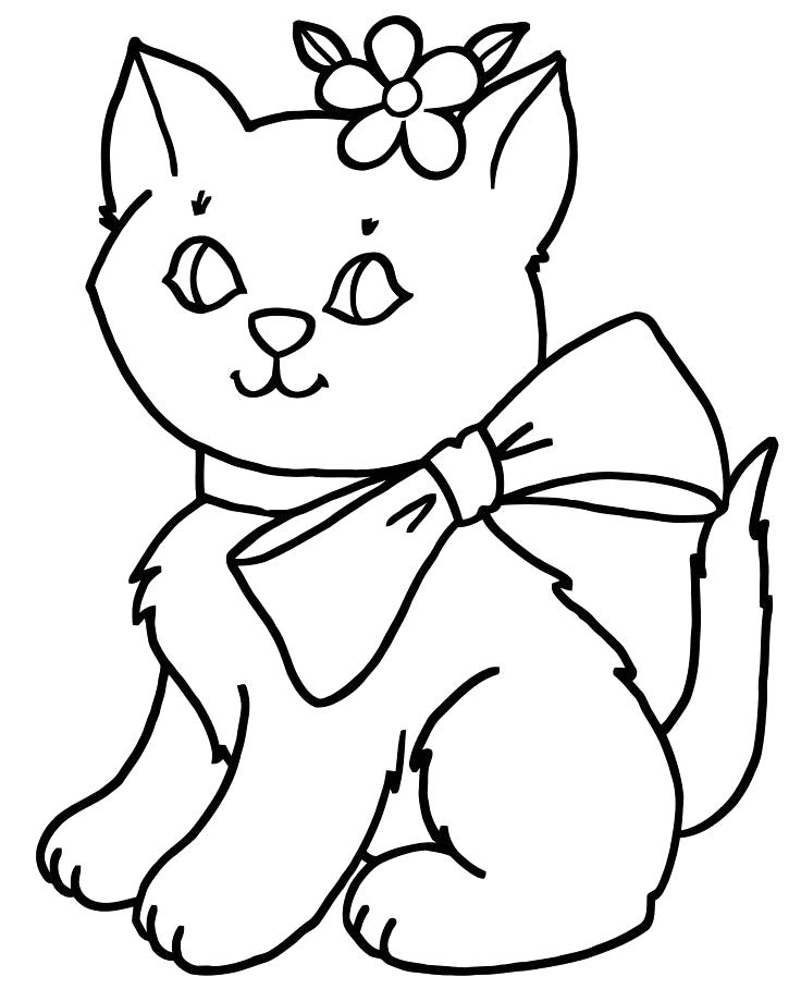 Раскраска котик с бантиком. Скачать кошка, Котенок.  Распечатать Домашние животные