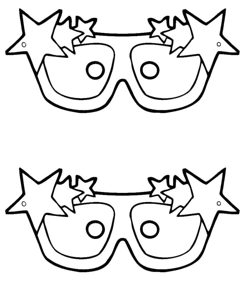 Раскраска маска очки со звездами. Скачать маски.  Распечатать маски