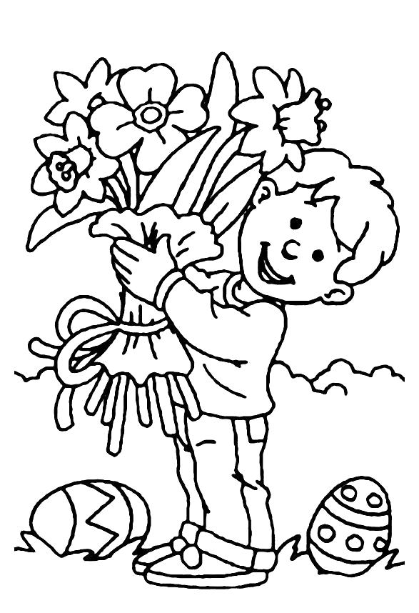 Раскраска Мальчик с букетом. Скачать Букет.  Распечатать Букет