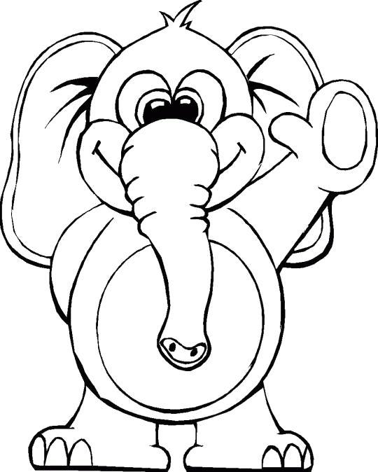 Раскраска Слоник приветствует. Скачать слон.  Распечатать Дикие животные