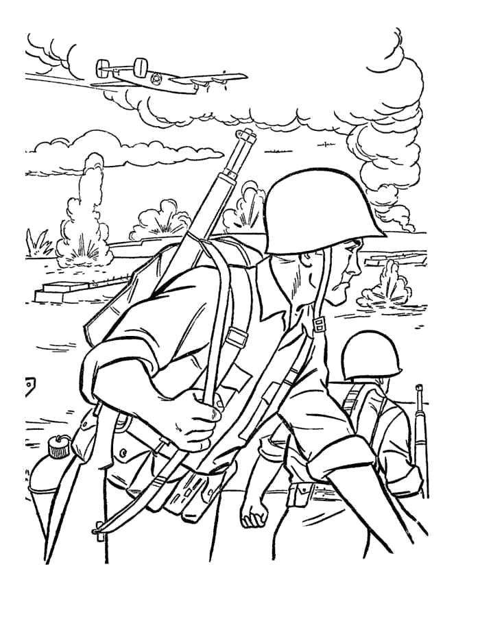 Раскраска  солдаты. Скачать Солдат.  Распечатать Солдат