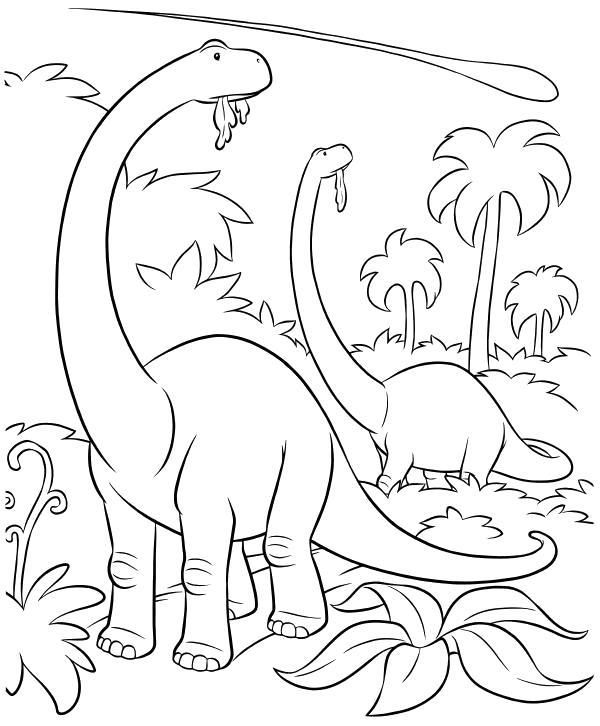 Раскраска  - Хороший динозавр - Динозавры и астероид. Скачать динозавр.  Распечатать динозавр