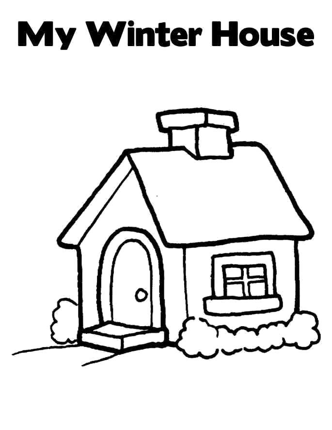 Раскраска мой зимний домик. Скачать Дом.  Распечатать Дом