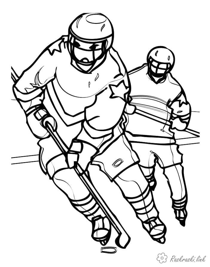 Раскраска  катаются хоккей хоккеисты коньки катаются шайба форма. Скачать коньки.  Распечатать Зима