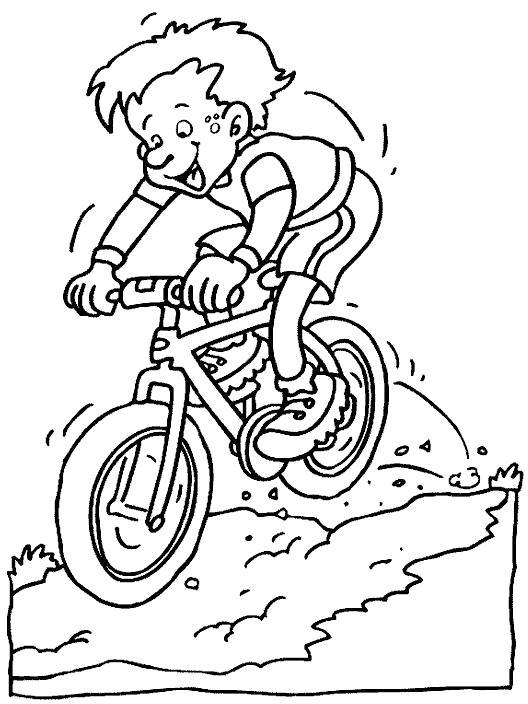 Раскраска мальчик катается на велосипеде, мальчик едет сгоры. Скачать Велосипед.  Распечатать Велосипед