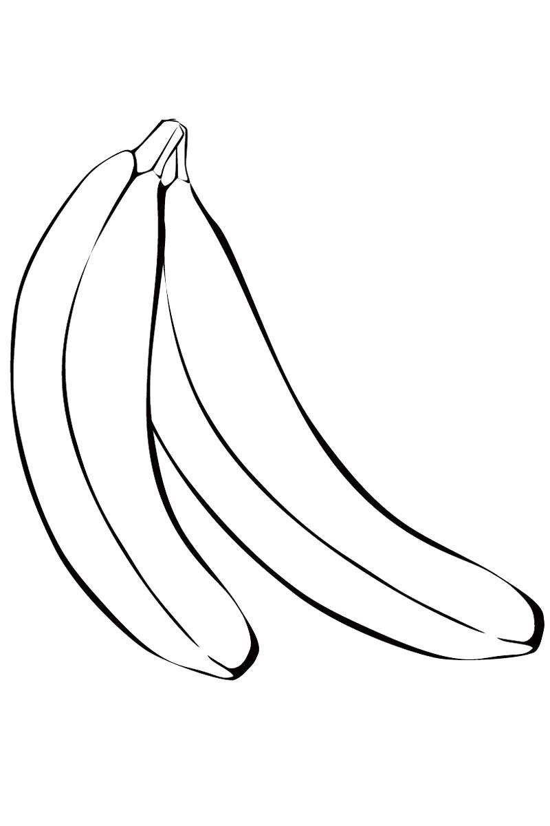 Раскраска  бананы. Скачать банан.  Распечатать Фрукты