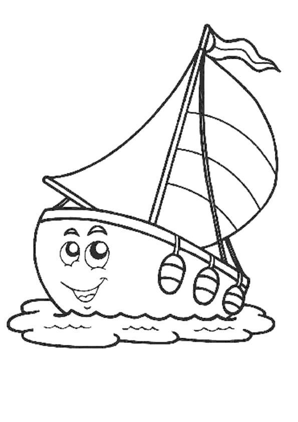 Раскраска Морские - милый кораблик. Скачать .  Распечатать