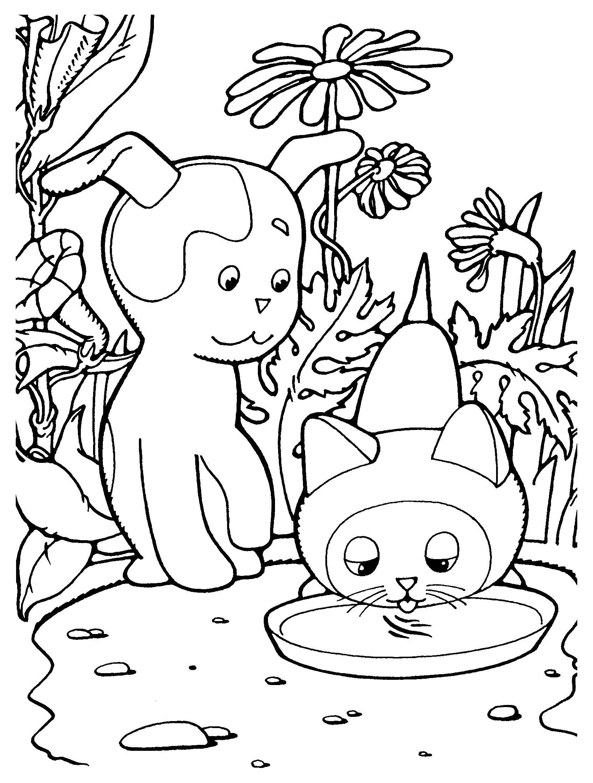 Раскраска детские картинки  с мультфильмов и детские, Котенок Гав пьет из миски, собака шарик. Скачать .  Распечатать
