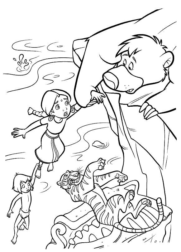 Раскраска Балу спасает всех. Скачать книга джунглей.  Распечатать книга джунглей