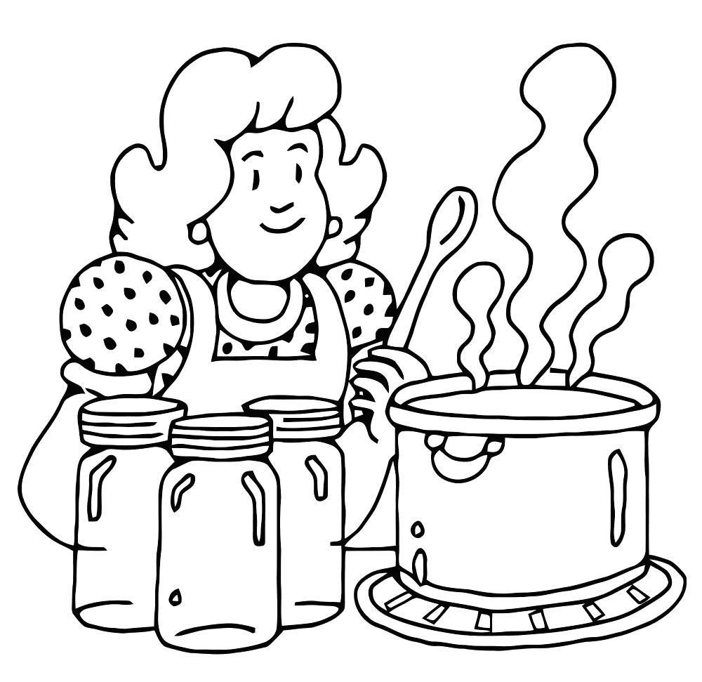 Раскраска Мама готовит обед. Скачать .  Распечатать