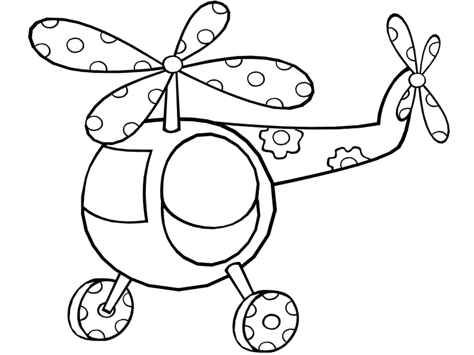 Раскраска Милый вертолет. Скачать Транспорт.  Распечатать Транспорт